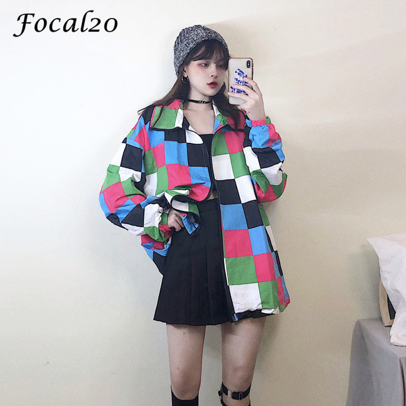 Focal20 Harajuku Hit Color Plaid Female Sun Protection Jacket Drawstring Color Block Long Sleeve Loose Zipper Women Jacket Coat