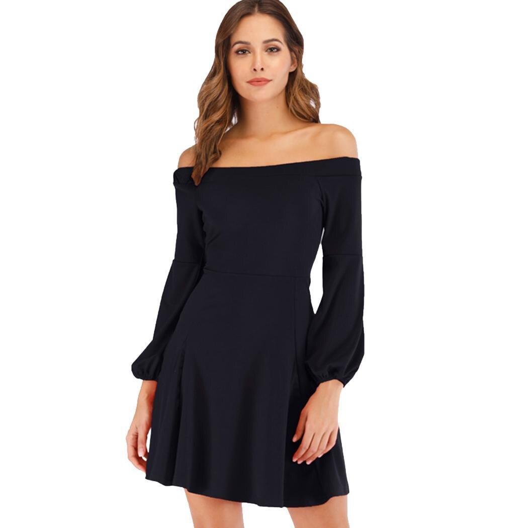 AL'OFA Women Formal   Cocktail     Dress   Elegant Slash Neck Off-shoulder Puff Sleeve Party Gown Homecoming   Dresses