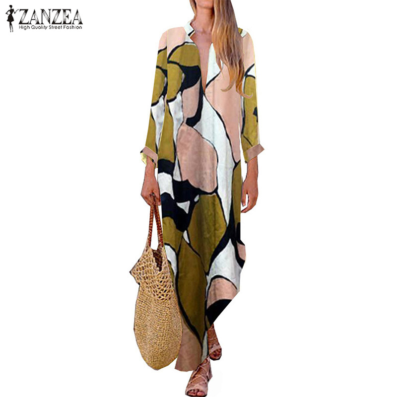 Bohemian Floral Dress Women's Summer Sundress 2020 <font><b>Sexy</b></font> V Neck Tunic Vestidos Female Casual Long Sleeve Split Robe <font><b>Femme</b></font> <font><b>5XL</b></font> image