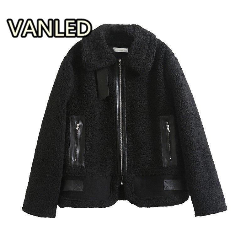 Veste Cheveux Zipper Chaud À Longues Cuir En black Daim Punk Agneau Fourrure Manteau Manches Lâche White Mode Épais 4OFqwq1