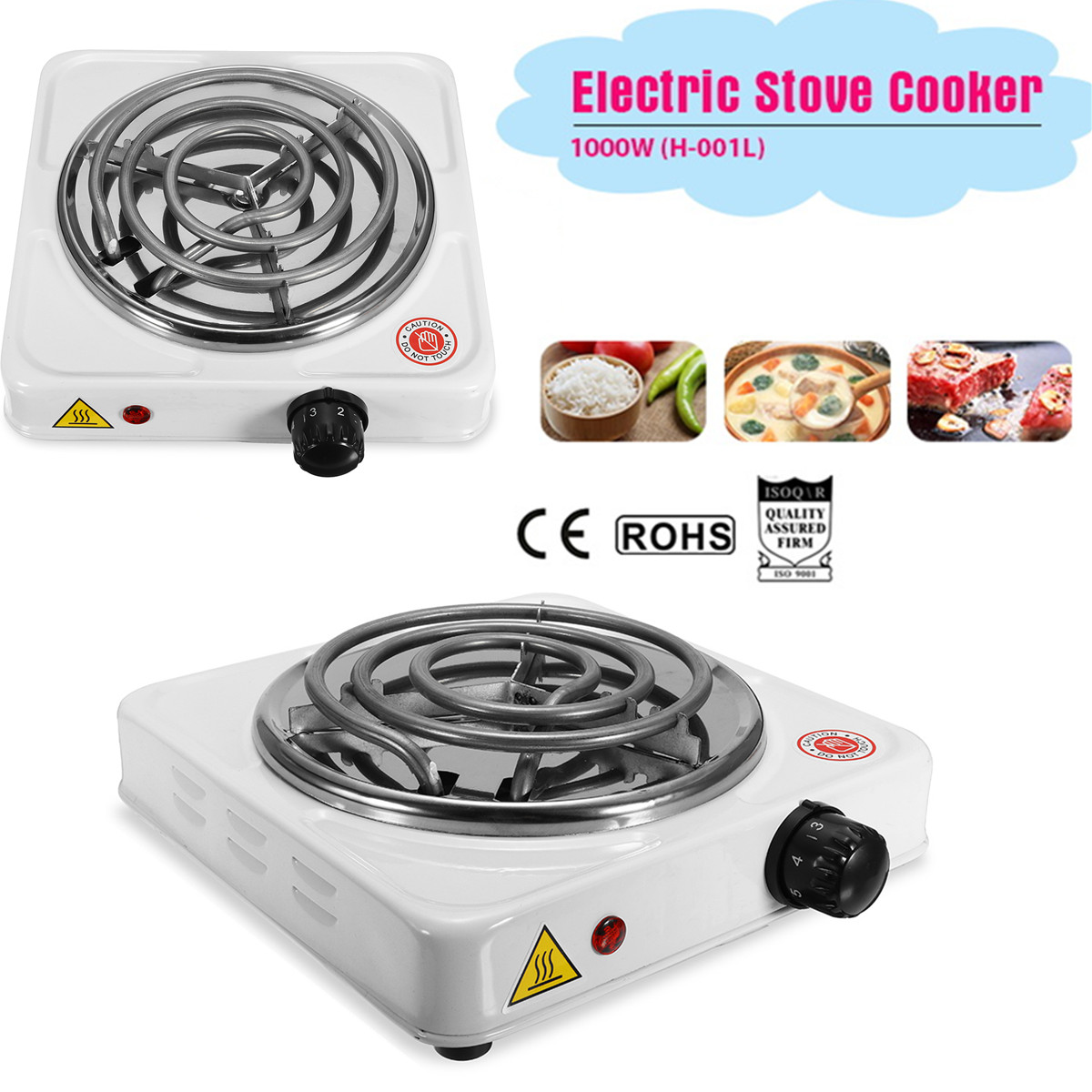 110-240V 1000W Iron Burner Electric Stove Hot Plate Portable Kitchen Cooker Coffee Heater Milk Soup Durable Asjustable Quick