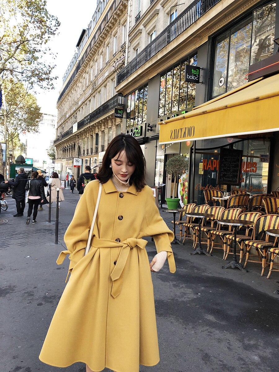 Manches Bouffantes Lâche Veste De Cachemire Turn Col down Femmes Laine Lady Noir Unique 2018 Poitrine Office D'hiver jaune Manteau Longues vert q15nw6ZvxA