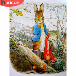 HUACAN 5D DIY Diamond Painting Full Drill Rabbits Diamond Embroidery Animals Decoration Home Picture Of Rhinestone Gift