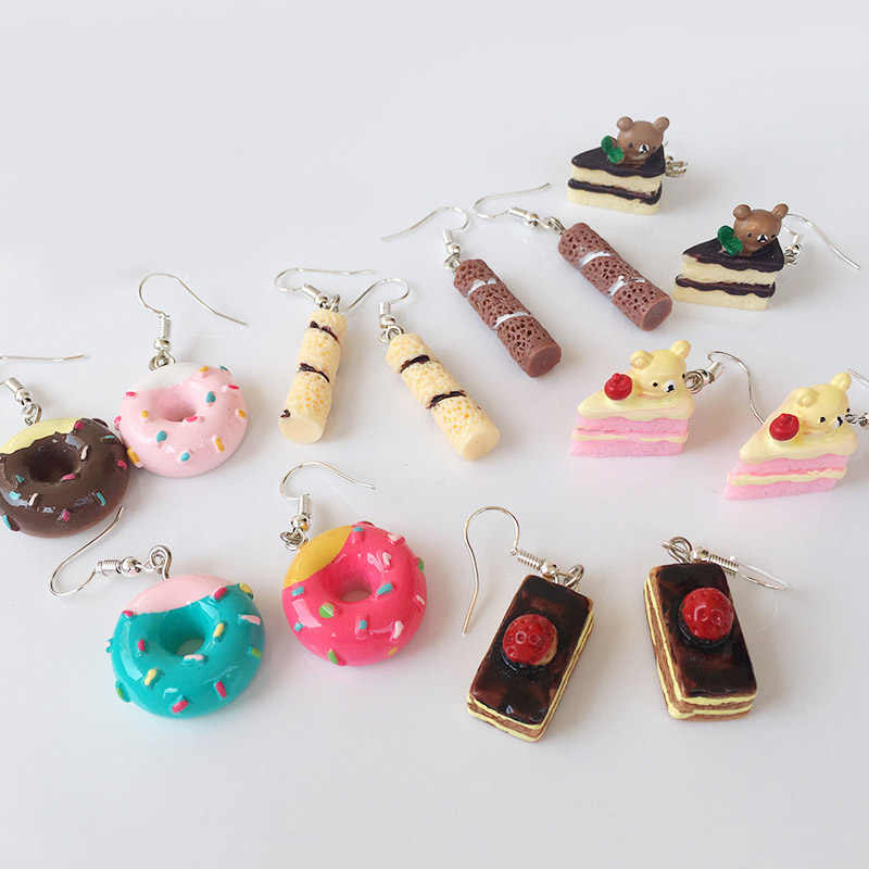Cake 1Pair Candy Color Valentines Gift Handmade Food Donuts Cute Melaleuca cake Lovely Fashion Jewelry Cartoon Drop Earrings