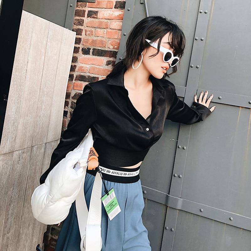 OXANT Slim taille chemise noire pour les femmes Sexy à manches longues croix bande haut col en V profond Slim chemise courte - 3