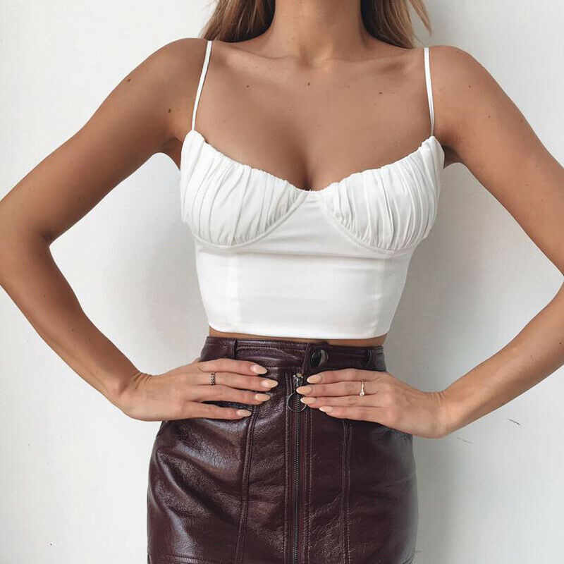 2019 Hot summer women lady camis fashion Sleeveless Push-up Cropped vest top Sexy Club Bandage Casual backless solid white black