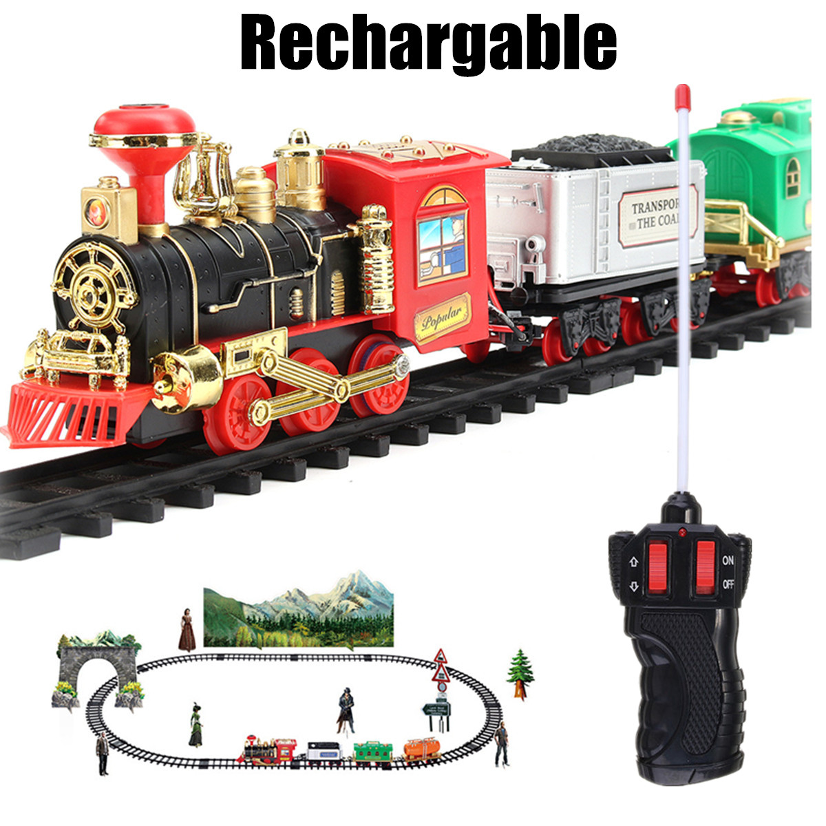 Electric Rechargeable Steam Smoke <font><b>Train</b></font> Model Truck Car Track Toy Remote Suit image