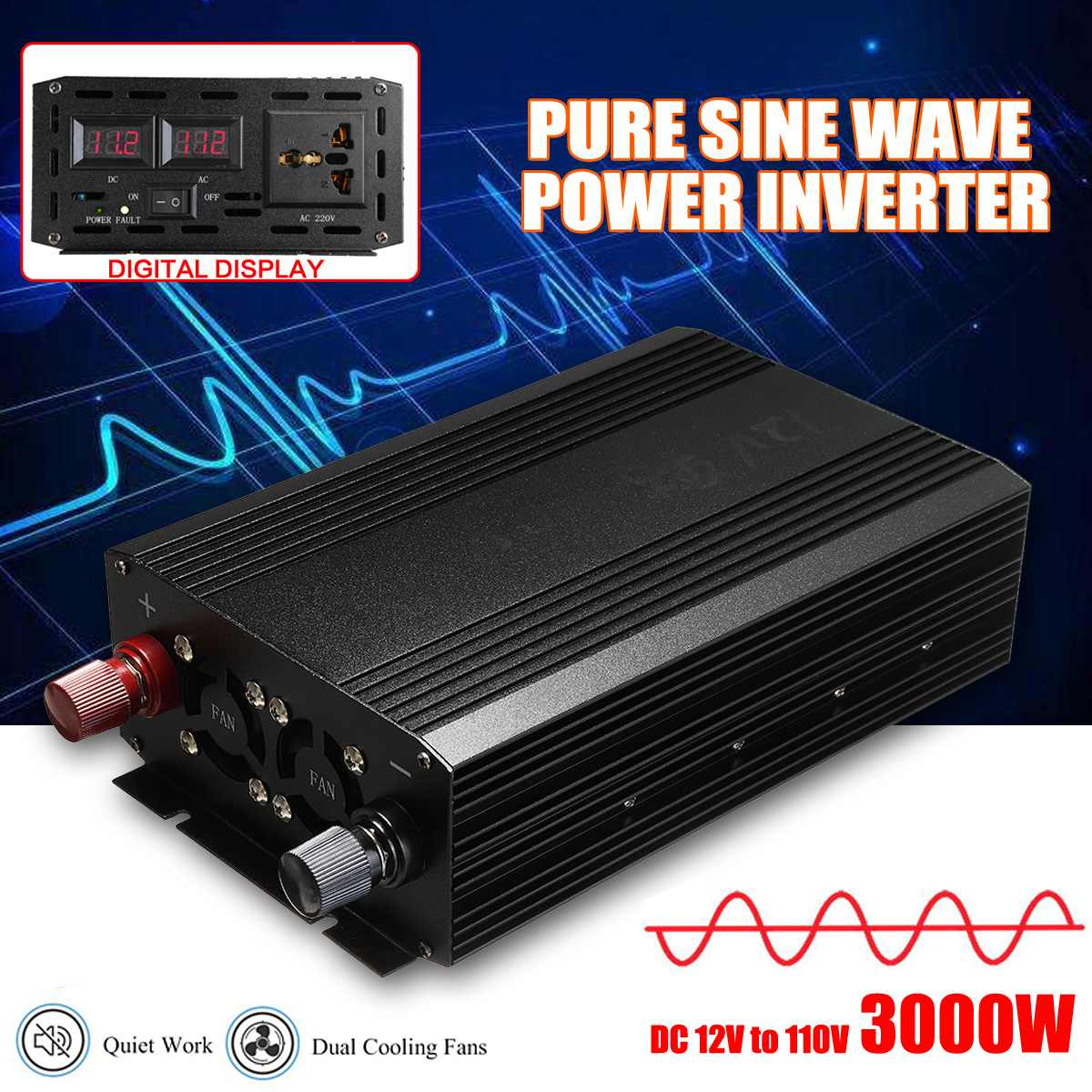 3000W Pure Sine Wave Solar Power Inverter DC 12V to AC 110V Digital Display for Home Electric Drill Power Inverter Supply3000W Pure Sine Wave Solar Power Inverter DC 12V to AC 110V Digital Display for Home Electric Drill Power Inverter Supply