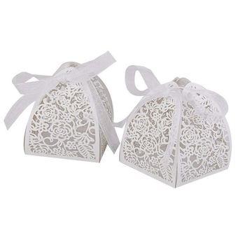 Lote de 25 uds caja de dulces Bonbonniere patrón Ajoure LED pantalla para vela para boda de bautizo-blanco