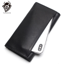 TAUREN New Fashion Men Wallet Genuine Leather Purse Long Vintage  Money Clip High-Capacity