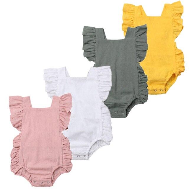יילוד תינוקות תינוקת Romper מוצק לפרוע שרוולים Romper סרבל תלבושות חליפת קיץ