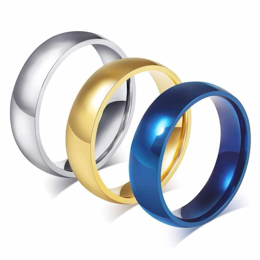 Vnox, Бесплатная персонализация, кольцо с буквами алфавита для женщин и мужчин, золотой тон, нержавеющая сталь, простые обручальные кольца, заказное имя, подарок