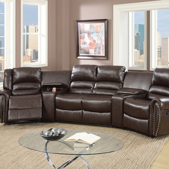 Bonded Leather Motional Home Theater 5 Piece