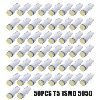 50pcs Super Bright Car Interior Light 12V T5 5050 1 Smd LED Dashboard Gauge Cluster Instrument Panel Light Bulbs цена 2017