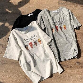 f0c202476a72 Camiseta de mujer con estampado de letras Queendom gris blanco negro  algodón camisetas de mujer