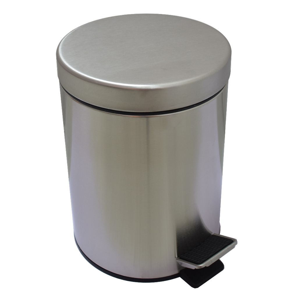 5L Round Bins #304 Stainless Steel Trash Can Bathroom Foot