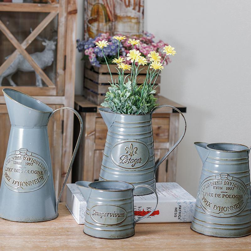 VINTAGE metal Decorativa Floreale Secchio vaso di fiori FIORIERE LEGNO GIARDINO Maniglie