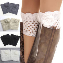 4 Color Women's Floral Leg Warmers Knee Sleeve Laides Winter Warm Crochet Knitted Boots Knee Sleeves Cuffs Topper(China)