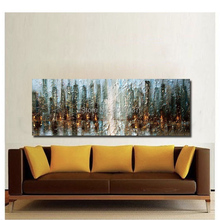 Hand Painted Abstract Large Canvas Painting Streetscap in night Unique Modern Oil Wall Living