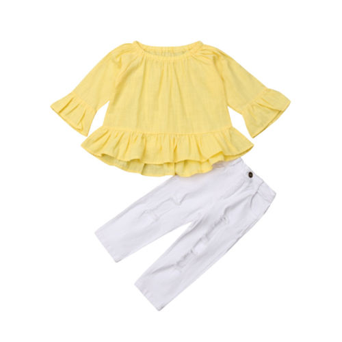 9b85b6ab8 2Pcs Fashion Kids Toddler Baby Girls Flare Long Sleeve Tops T shirt ...