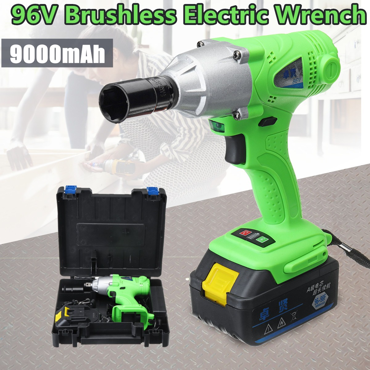 цена на 96V Cordless Impact Wrench 1/2 inch Drive Li-ion Lithium Battery 320NM w/LED Light Cordless Rechargeable Electric Impact Drill