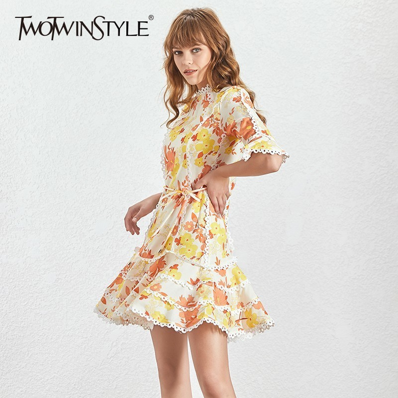 TWOTWINSTYLE Print Dress Female O Neck Flare Half Sleeve High Waist Lace Up Mini Dresses Women