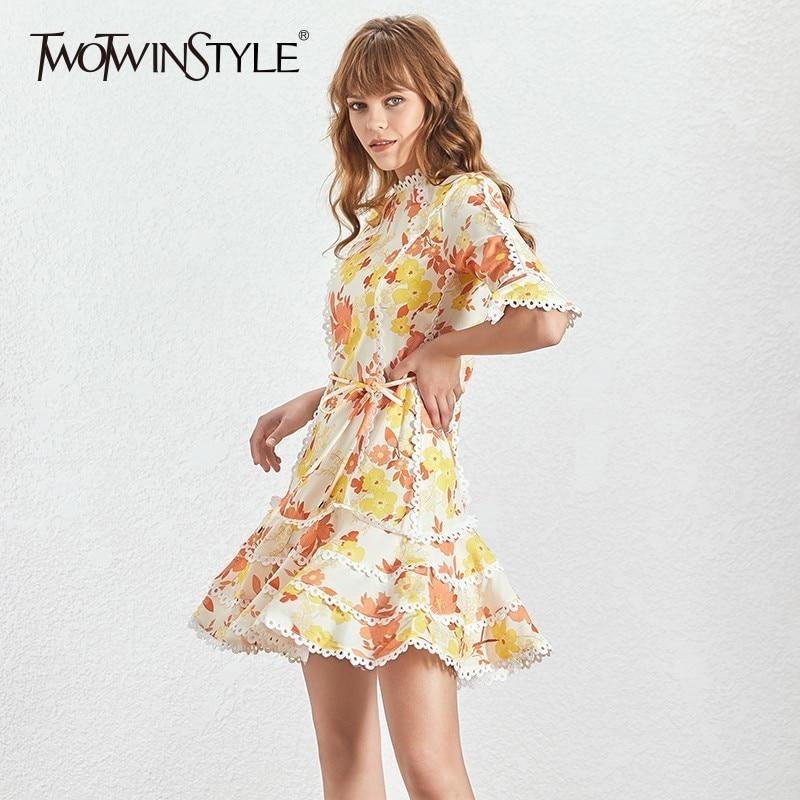 TWOTWINSTYLE Print Dress Female O Neck Flare Half Sleeve High Waist Lace Up Mini Dresses Women