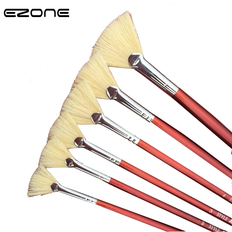 EZONE Wooden Holder Painting Brush Different Size Fan Brushes Watercolor/Oil Painting Gouache Drawing Art School Office Supply image