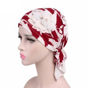Image 2 - Women Hijab Cap Muslim Inner Cap Islamic Headwear Lady Hat Cap Flower Print Hair Accessories Turban Cap Bandana Choker Headband
