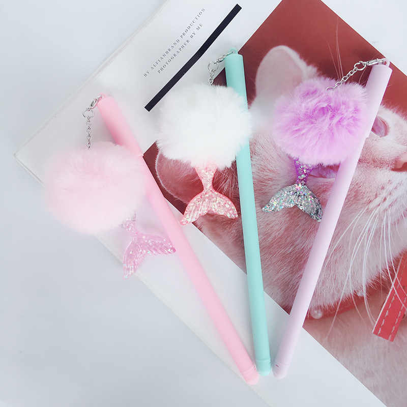 1 Stuk Pluizige Gel Pen Leuke Kawai Hanger Mermaid Tail Gekleurde Briefpapier Kantoor School Supply Creative Sweet Pretty Mooie