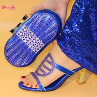2019 Royal Blue Newest Italian Shoes With Matching Bags Set For Women Italian Style Rhinestone Ladies Slipper Shoes And Bag Set
