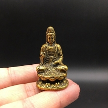 Collectable Chinese Brass Carved Guan Yin Kwan-yin Bodhisattva Buddha Exquisite Small Statues