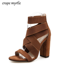 Fashion Stretch Fabric Women Sandals Sewing Ankle-Wrap Super High Heels Shoes Fashion Summer Ladies Party Pumps Shoes YMA655 lapolaka 2018 summer brand natural cow suwde ankle wrap women sandals high heels ethnic shoes woman fashion date party shoe