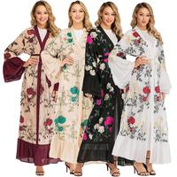 Floral Print Abaya Dubai Open Front Chiffon Kimono Cardigan Kaftan Muslim Maxi Long Dress Robe Flare Sleeve Islamic Clothing New