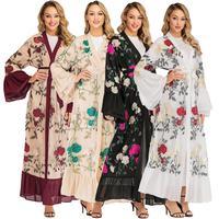 Floral Print Abaya Dubai Open Front Chiffon Kimono Cardigan Kaftan Muslim Maxi Long Dress Robe Flare Sleeve Islamic Clothing New