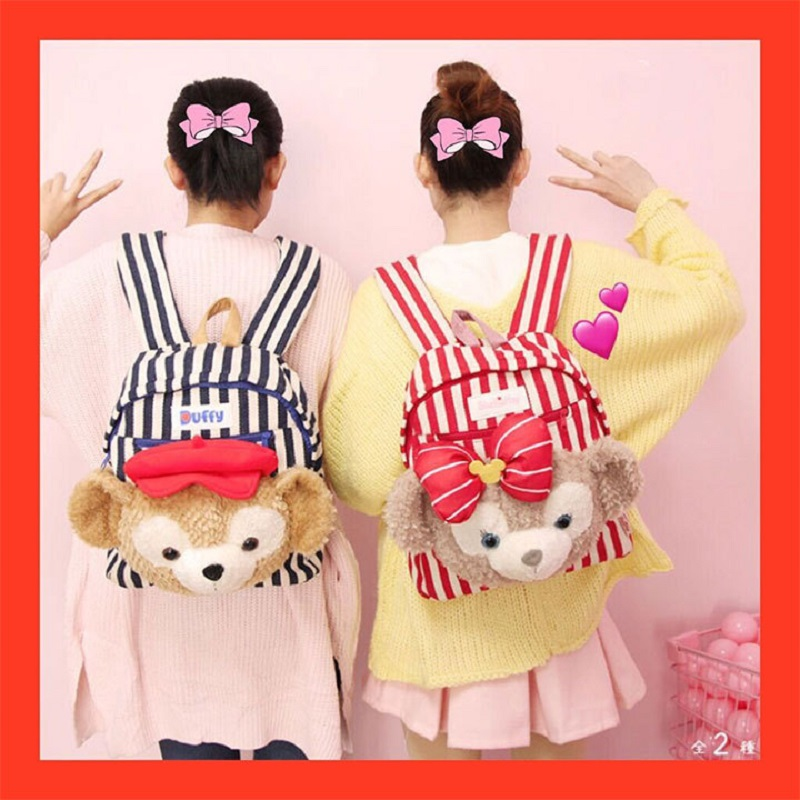 Grand dessin animé Duffy Bear Shelliemay sac à dos en peluche peluche poupées sac femmes filles sac à dos enfants sac d'école cadeaux d'anniversaire
