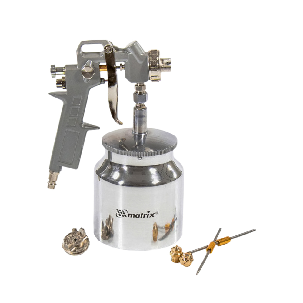 Spray Gun MATRIX 57317 with the lower tank of 075 l nozzles with a diameter of 1.2 1.5 and 1.8 mm 12 pieces of plastic 10 mm diameter of the hole of the built in stopper for black crafts