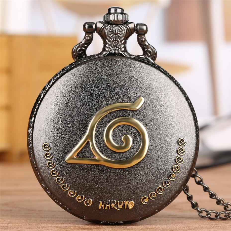 Retro Grey Naruto Theme Quartz Pocket Watch Roman Numerals Display Vintage Clock With Pendant Necklace Chain Men Women Kids