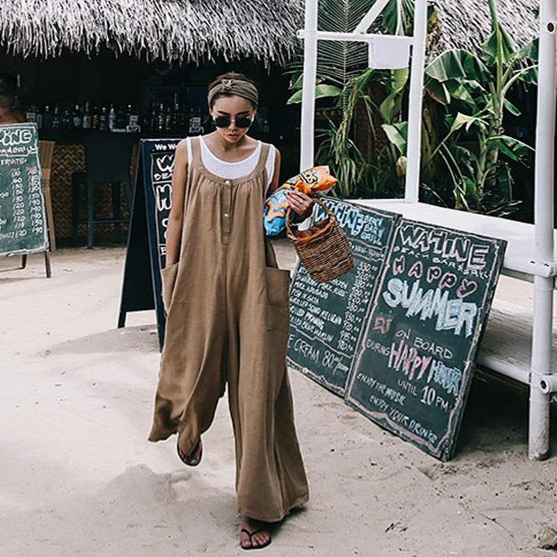 SuperAen Spring and Summer New 2019   Jumpsuits   Women Cotton and Line Pockets Loose Pluz Size Casual Wild Sleeveless   Jumpsuits
