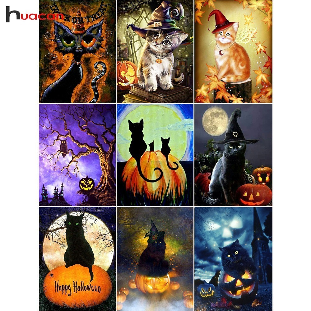 Arts,crafts & Sewing Forceful Huacan Diamond Painting Full Square Halloween Diamond Embroidery Sale Pumpkin Cross Stitch Rhinestones Cat Mosaic Relieving Rheumatism Diamond Painting Cross Stitch