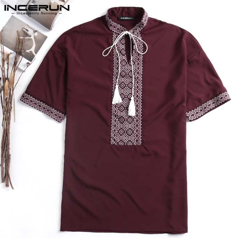 Boho Hawaiian Beach Shirts Men Floral Embroidery Print Short Sleeve Stand Collar Loose Casual Shirts Camisas Chemsie Clothes Man