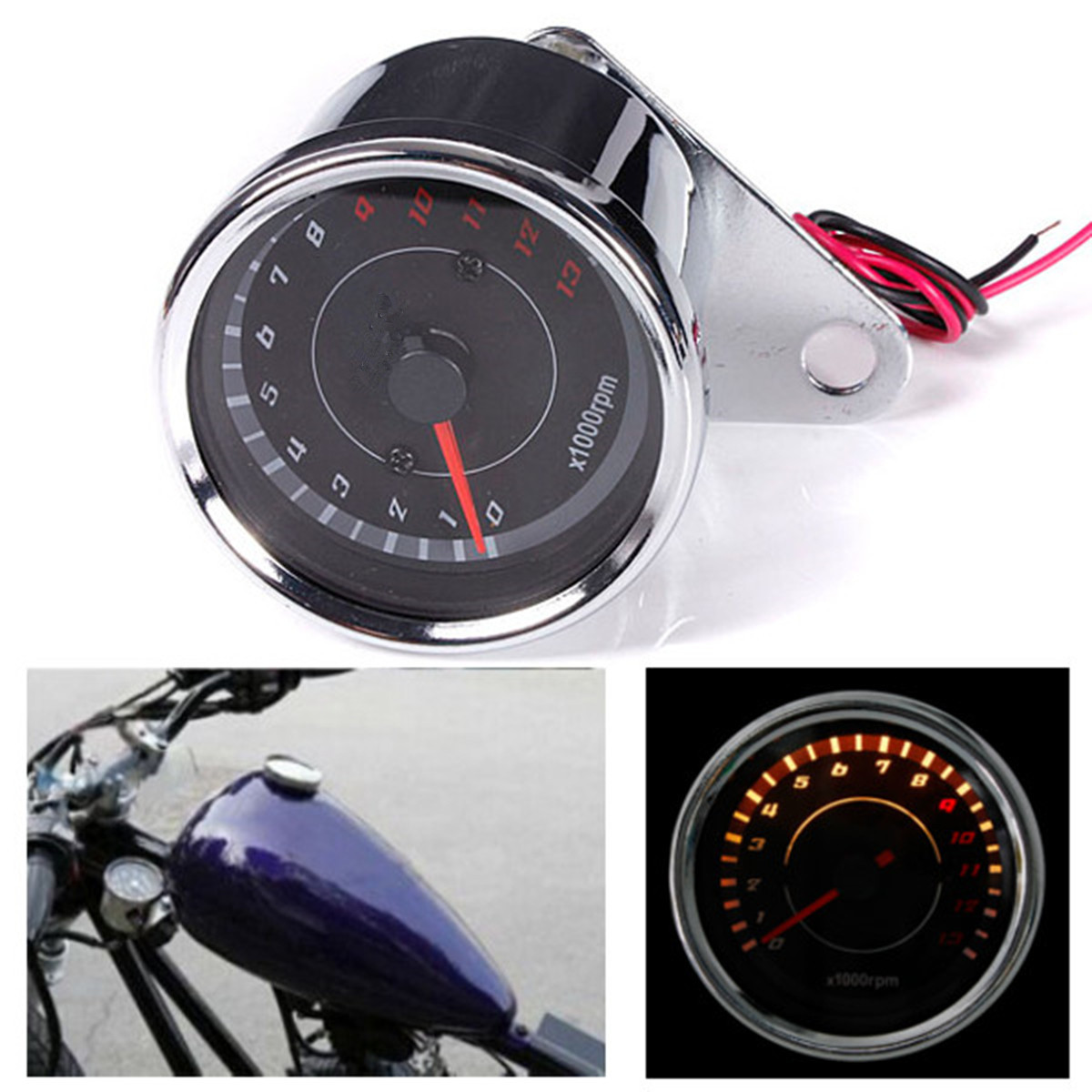 60mm 12V Silver Motorcycle Speedometer Tachometer Odometer Rev Counter 0-13000 RPM