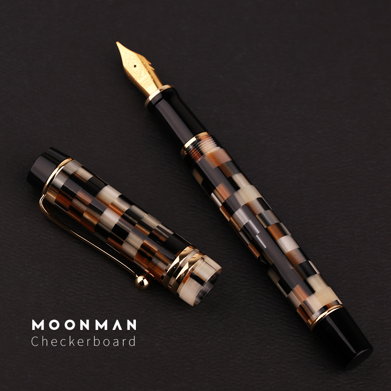 New Moonman M600 Acrylic Resin Fountain Pen Gold Plated Fine Nib 0.5mm Gift