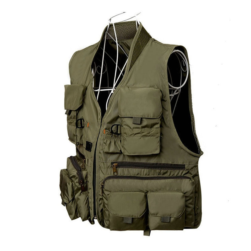 Vest Male Many Pocket Quick Dry Waistcoat Sleeveless Jacket Military Summer Breathabl Polyester Multi Function Vest Photographer