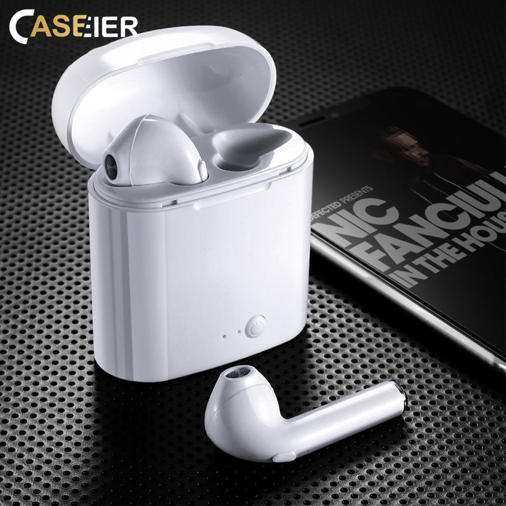 CASEIER i7s TWS Bluetooth Earphone Headsets With Charging Box Mic For all Smart Phone Bluetooth Earphones