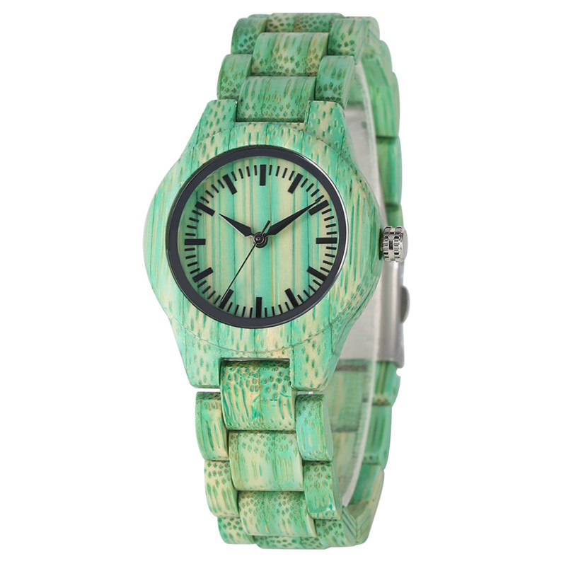 Casual Pure Bamboo Quartz Watch Movement For Women Green Bamboo Watches Practical Folding Clasp Bamboo Wristwatch For Madams