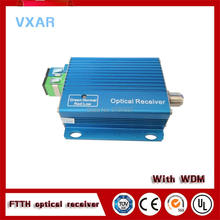 Indoor 2 way output ftth catv optical receiver node with WDM