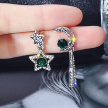 FYUAN Korean Style Green Crystal Asymmetry Earrings Shining Star Moon Drop for Women Girl Jewelry Gift