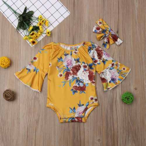 2PCS Beautiful Newborn Toddler Baby Girls Floral Long Sleeve Romper Jumpsuit Outfits 0 24M in Rompers from Mother Kids