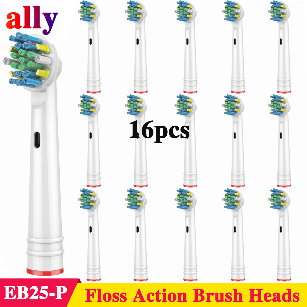 16X EB25 Floss Action Electric toothbrush heads Replacement For Oral B Vitality Triumph pro690 DB4510 D12013 Electric toothbrush image